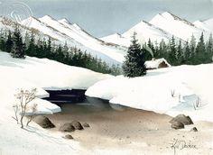 Cabin by the Creek, California art by Ken Decker.