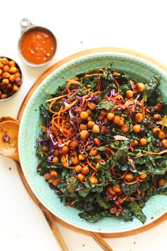 EASIEST Asian Kale Salad with Crispy MISO Chickpeas! For a vegan (sorry vegans), it'd probably be great, but the chickpeas were a little bland and the dressing a bit heavy. Kale Salad Recipes, Vegetarian Recipes, Cooking Recipes, Healthy Recipes, Kale Salads, Baker Recipes, Cooking Tips, Crunchy Chickpeas, 12 Recipe