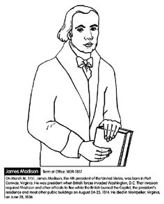 us president james madison coloring page