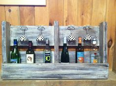 Wood crate cut in half. Painted to look old and completely repurposed!