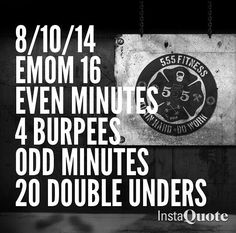 EMOM WOD burpees doubleunders. I recommend soon am ascending ladder with these burpees. The rest between sets was too much. If you can zing DUs I also suggest 30-40 vs 20 but for beginners this is good.