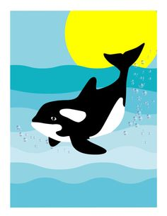 Baby Orca Whale Digital Print by NewJerseyAccents on Etsy, $20.00