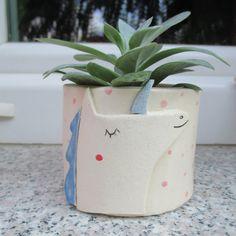 Unicorn Planter,Unicorn Flower Pot,Blue,White.Rustic,Succulent Planter,Stoneware,Cacti Planter,Unicorn,Cactus Pot,Ceramic Unicorn,whimsical by TatjanaCeramics on Etsy