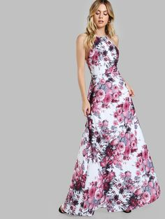 Shop Racer Neck Cutout Back Floral Dress online. SheIn offers Racer Neck Cutout Back Floral Dress & more to fit your fashionable needs.