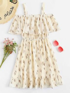 Shop Cold Shoulder Floral Print Tiered Dress at ROMWE, discover more fashion styles online. Girls Fashion Clothes, Teen Fashion Outfits, Mode Outfits, Cute Fashion, Dress Outfits, Casual Dresses, Girl Outfits, Fashion Dresses, Fashion Styles