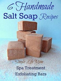 Handmade Salt Soap Recipes - Spa Soaps, homemade cold processed soap with natural ingredients. Exfoliating salt, non drying, moisturizing with minerals.