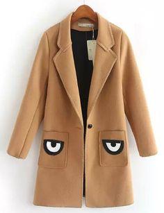 #fashion #accessories Preppy Eye Trim Pocket Wool Coat with Lapel Collar   Dark Coffee by Moda Tendone - WoolCoat Clothes, Dark Coffee, Fashionable, Women, WoolCoat
