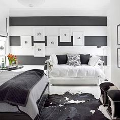 Black and White Living Room Design. 20 Inspirational Black and White Living Room Design. 30 Black & White Living Rooms that Work their Monochrome Magic Black White And Grey Bedroom, White Bedroom Design, Bedroom Black, Master Bedroom, Black Bedrooms, Pretty Bedroom, Black Bedding, Small Bedrooms, Black Walls