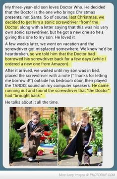 They Are The Best. Parents. Ever. Now I'm not a Doctor Who fan but this is adorable <3