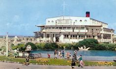 The 'SS Berengaria' Theatre and Swimming Pool at the Middleton Tower Holiday Camp in Butlins Holidays, Morecambe, Blackpool, Vintage Holiday, Good Times, Swimming Pools, Dolores Park, Camping, Mansions