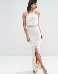 ASOS+Halterneck+Embellished+Drape+Front+Maxi+Dress