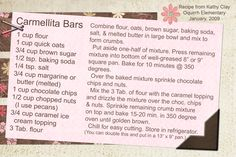 Carmelita Bars...a favorite:)  Recipe card made digitally with Photoshop Elements.