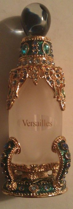 Vintage Versailles Glass Perfume Bottle Gold and Teal | eBay