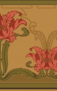 """Iris Botanical Wall Frieze 2 - By the Yard. This frieze is 17"""" wide, and is sold by the yard. Comes untrimmed and unpasted. On Heavyweight Historic Paper Price: $12.50. On Washable. Strippable Vinyl Price: $10.05."""