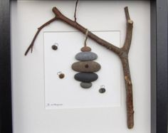Miniature Pebble Art Magnet CAT WITH ANT 2 x от LakeshorePebbleArt