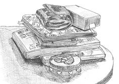 Drawing of books on a table