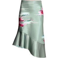 Bonded Silk Skirt $99 ($99) ❤ liked on Polyvore featuring skirts, frill, ruffle, flouncy skirt, green skirt, calf length skirts, midi skirt and patterned skirts