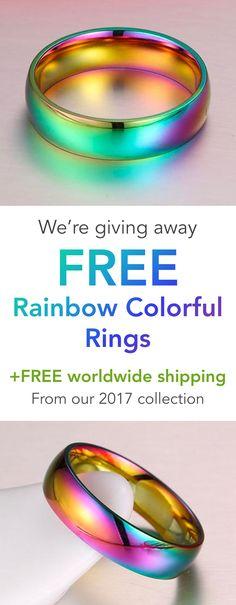FREE Titanium Rainbow Colorful Rings