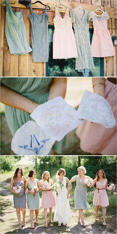 mismatched bridesmaids dresses and customized handkerchiefs #bridesmaidsdress #bridesmaidsgift #weddingchicks http://www.weddingchicks.com/2014/02/03/dream-moments-wedding/