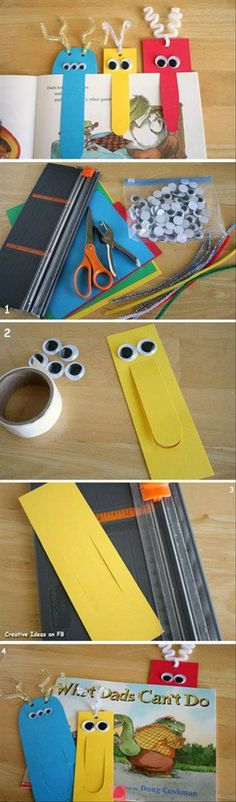 Homemade Bookmarks with bright coloured card and a few googly eyes