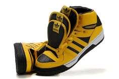 promo code 745fb eb1b0 Adidas Originals ObyO Jeremy Scott JS 3 Tongue Yellow Black Running