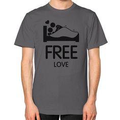 Free Love Men's T-shirt, American Apparel T-shirt, love tee, funny t- shirt, custom t shirt, graphic tee (Black Icon)
