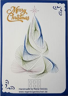 Thread graphic greeting card Christmas thread graphic – greeting cards – set with … Christmas Yarn, Christmas Tree Art, Merry Christmas Card, Christmas Cards To Make, Christmas Embroidery Patterns, Embroidery Cards, Arte Linear, Stitching On Paper, String Art Patterns