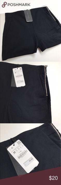NWT Zara Woman High Waist Side Zip Short M NEW With Tags Zara Woman High Waist Side Zip Shorts   Dark Navy   Size Medium Zara Shorts