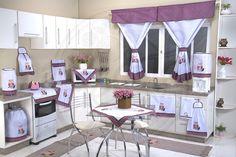 Itens para cozinha em bordado patchwork e tear - corujinha
