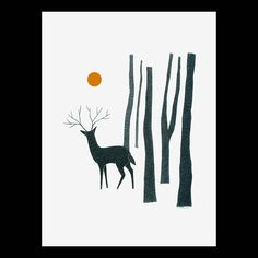 Drawing A4 Print Art Pen And Ink Illustration Deer Forest Trees Detailed Artwork Stylised