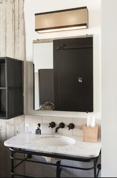want to do something like this with our faux marble basin in second bathroom, ie) ditch the cupboards, raise on pipe stand