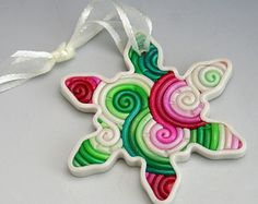 SALE Snowflake Christmas Ornament in Red and Green Polymer Clay