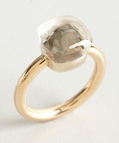 Pomellato gold and quartz 'Nudo' ring: the vey first Pomellato I tried on...