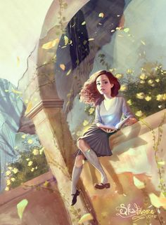 Hermione at Hogwarts. Harry Potter Fan Art, Harry Potter Drawings, Harry Potter Hermione, Ginny Weasley, Harry Potter Universal, Harry Potter World, Hermione Granger Art, Hermione Fan Art, Draco