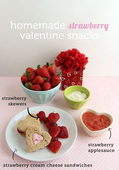 3 Healthy Strawberry Snacks for Valentine's Day with #grapes! Perfect for the kiddos via @modrentmessykid// #valentines #fruit #kids