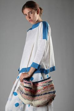 crocheted bucket bag  in heavy multicolour cotton and linen - DANIELA GREGIS
