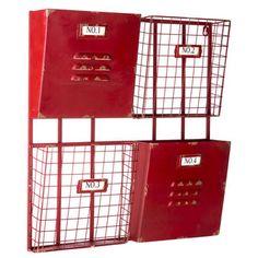 Red 4-Pocket Metal Wall Shelf