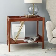 Mid-Century Magazine Side Table #westelm for record player/records or magazines?
