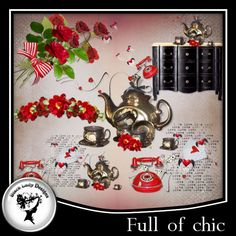 """6 embellishments made with my kit """"Full of chic"""". 300 dpi.    See other product with this series.  PU"""