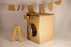 its a washing machine Cardboard Box Crafts, Cardboard Crafts, Cardboard Houses, Dramatic Play Themes, Airing Cupboard, Diy Snow Globe, Paper Board, Toy Kitchen, Machine Design