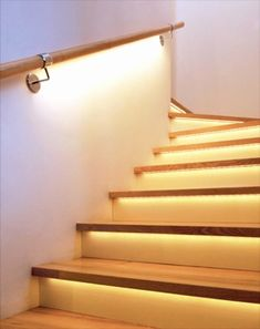 Stair lighting 26 Step lighting Led bar Lighting Stair step Images - ALL ABOUT Modern Recessed Lighting, Stair Lighting, Home Lighting, Custom Lighting, Unique Lighting, Lighting Ideas, Led Stripes, Stair Steps, Basement Renovations