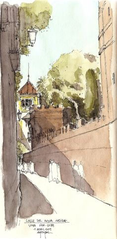 I want to live here. Watercolor Journal, Watercolor Sketch, Watercolor Landscape, Watercolor Illustration, Watercolor Paintings, Watercolours, Art Photography Portrait, Nature Sketch, Building Art