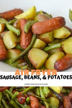 Make a tasty dinner in minutes with this Air Fryer Sausage, Beans, and Potato Hash! It's a great GlutenFree Air Fryer recipe that is super simple to make. Kielbasa And Potatoes, Smoke Sausage And Potatoes, Air Fryer Dinner Recipes, Air Fryer Recipes Easy, Chimichanga, Sausage And Green Beans, Smoked Sausage Recipes, Cocktail Sausage Recipes, Cajun Sausage