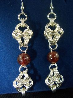 Sterling Silver Chainmaille Earrings with Hessonite
