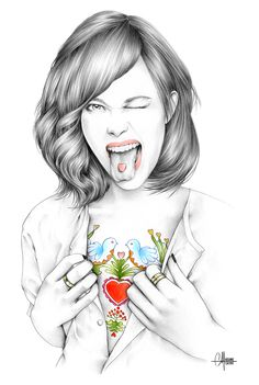 Fashion illustrations and portraits drawn by Hélène Cayre Love Illustration, Portraits, Cool Art, Awesome Art, Art Drawings, Art Sketches, Valentines, Artwork, Fashion Prints
