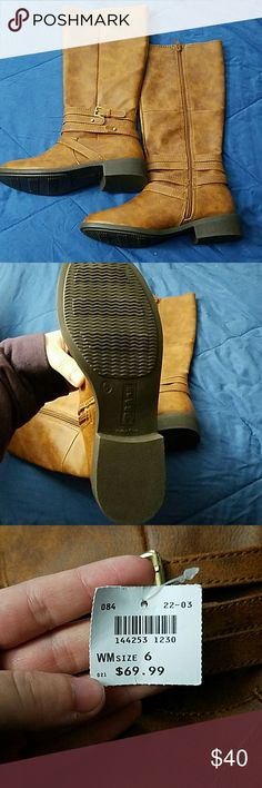 NWT taupe/brown riding boots NWT, never worn. Size 6. Super cute riding boots with buckle detail Shoes Winter & Rain Boots