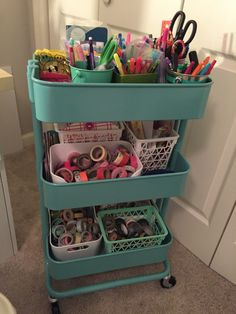 IKEA Cart Organization. cute idea for a portable art studio i can roll around the garage :)
