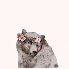 #Bear with a #flower crown #Print | Poster by Daniela Dahf Henriquez
