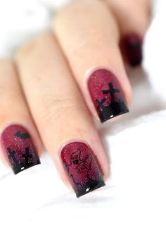 Nailstorming - Halloween Nail Art ft. Bundle Monster's Rub On Decals?! [VIDEO TUTORIAL] - Graveyard - ghost - halloween nails - 10 % off on Bundle Monster with code MARINE10