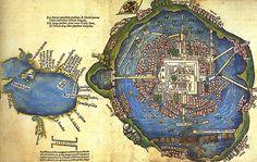 Tenochtitlán. Imagen de la página de un libro publicado en 1524. A la derecha, mapa de Tenochtitlán. A la izquierda, esbozo del Golfo de México. Atribuida a un colaborador de Hernán Cortés.